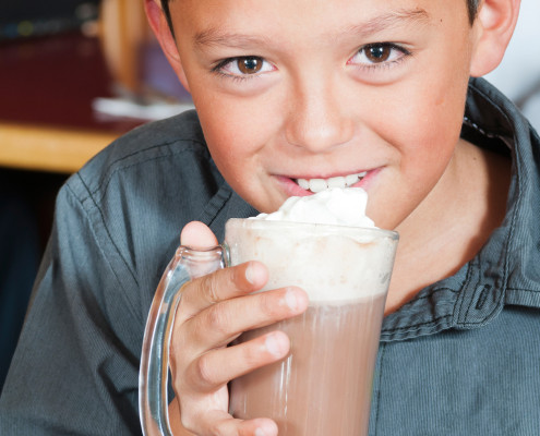 boy drinking chocolate shake