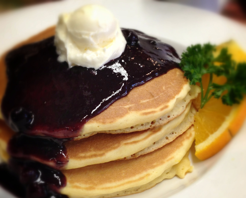 Hobee's buttermilk pancakes with blueberry syrup