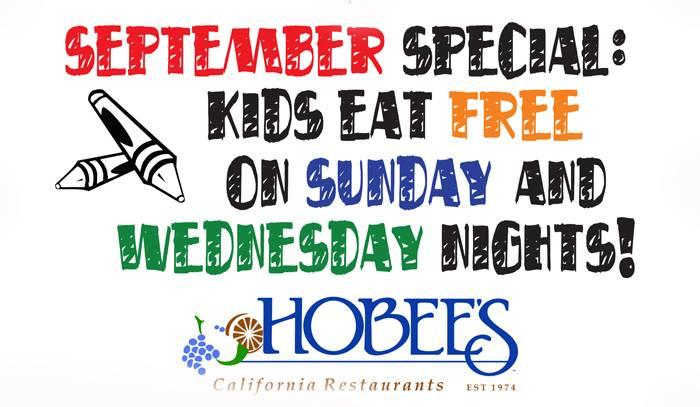 September Bonus Kids Eat Free On Wednesday And Sunday Night