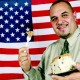 Jose Valencia and coffeecake with an American flag background