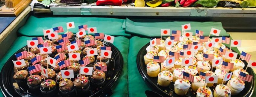 American and Japanese flag cupcakes